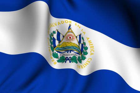 el salvador flag: Rendering of a waving flag of El Salvador with accurate colors and design. Stock Photo