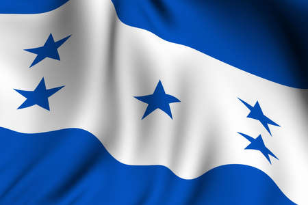 Rendering of a waving flag of Honduras with accurate colors and design. photo