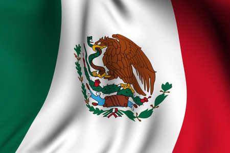 bandera de mexico: Prestación de agitar una bandera de Mexico con precisión los colores y el diseño. Foto de archivo