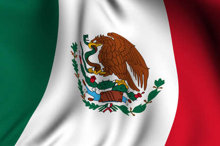 Rendering of a waving flag of Mexico with accurate colors and design.