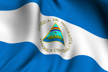 Rendering of a waving flag of Nicaragua with accurate colors and design. photo