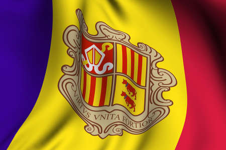 Rendering of a waving flag of Andorra with accurate colors and design. photo