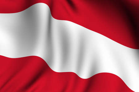 Rendering of a waving flag of Austria with accurate colors and design.