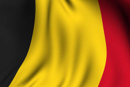 Rendering of a waving flag of Belgium with accurate colors and design.