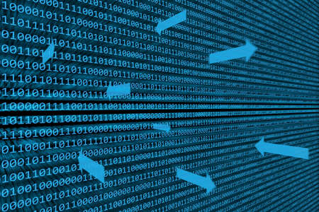 data transfer: Abstract background of binary code illuminated on a blue  screen with arrows representing data transfer