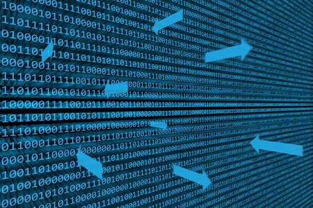 Abstracte achtergrond van binaire code verlicht op een blauw scherm met pijlen die gegevensoverdracht