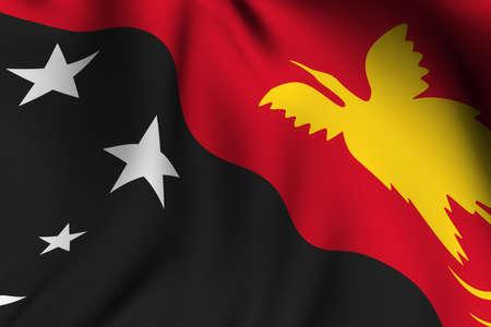 Nuova Guinea: Rendering di un sventola bandiera della Papua Nuova Guinea con una precisione di colori e design e trama di un tessuto.