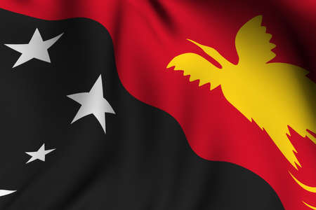 Rendering of a waving flag of Papua New Guinea with accurate colors and design and a fabric texture. Stock Photo