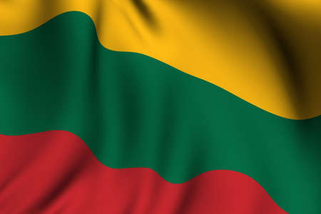 Rendering of a waving flag of Lithuania with accurate colors and design and a fabric texture. Reklamní fotografie