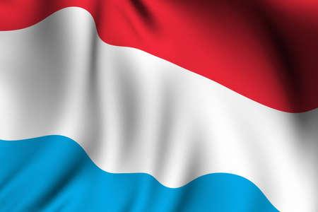 Weergave van een wuivende vlag van Luxemburg met nauwkeurige kleuren en design en een stof textuur.