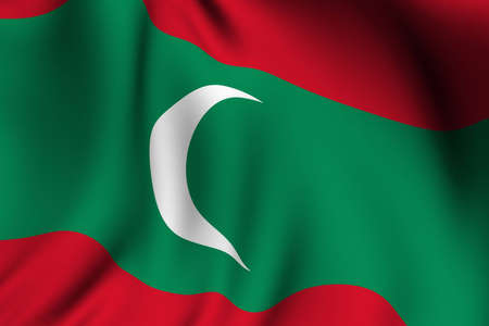 Rendering of a waving flag of the Maldives with accurate colors and design and a fabric texture.