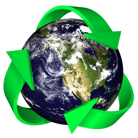3d rendering of the earth with the recycling symbol of arrows surrounding it.  Earth and cloud maps are provided by NASA under their terms of use (http:www.nasa.govmultimediaguidelinesindex.html) and future usage of the buyer must meet NASAs require