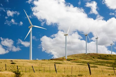 Wind turbines standing in a field in central Spain. Stock Photo - 3377597