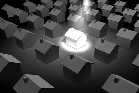 3d rendered illustration of a spotlight shining on a house standing out from the rest.