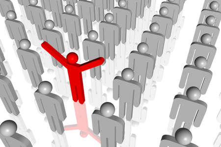 3d rendered illustration of a person standing out from the rest.