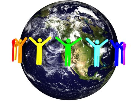 3d rendered illustration of a rainbow of people around the earth. Earth and cloud maps are provided by NASA under their terms of use (http:www.nasa.govmultimediaguidelinesindex.html) and future usage of the buyer must meet NASAs requirements of bein