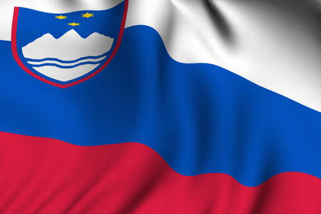 Rendering of a waving flag of Slovenia with accurate colors and design and a fabric texture.