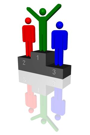 3d rendered illustration of medal winners on a podium, isolated on a white background.