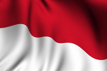 Rendering of a waving flag of Indonesia with accurate colors and design and a fabric texture. Imagens