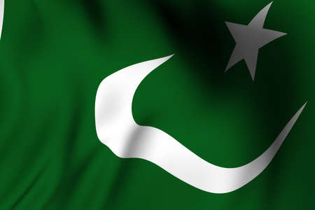 Rendering of a waving flag of Pakistan with accurate colors and design and a fabric texture.