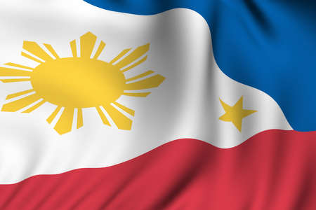 Rendering of a waving flag of the Philippines with accurate colors and design and a fabric texture.
