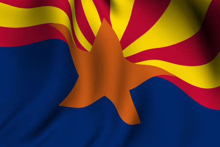 state of arizona: Rendering of a waving flag of the US state of Arizona with accurate colors and design and a fabric texture.