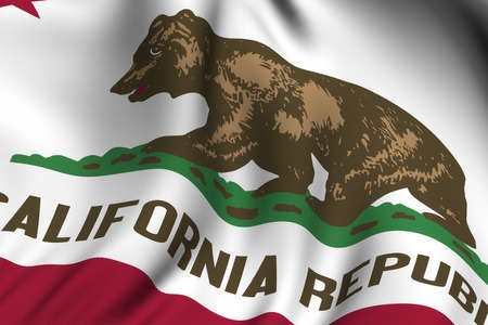 Rendering of a waving flag of the US state of California with accurate colors and design and a fabric texture. photo