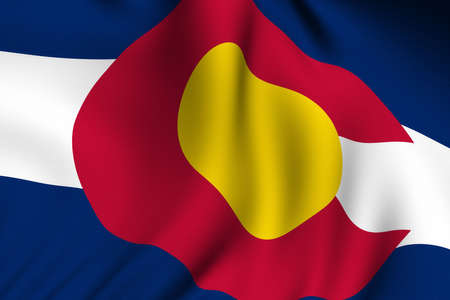 Rendering of a waving flag of the US state of Colorado with accurate colors and design and a fabric texture. Stock Photo