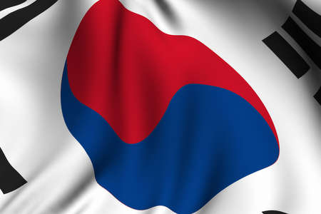 south korea: Rendering of a waving flag of South Korea with accurate colors and design and a fabric texture.