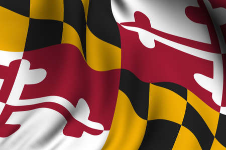 maryland flag: Rendering of a waving flag of the US state of Maryland with accurate colors and design and a fabric texture.