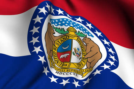 Rendering of a waving flag of the US state of Missouri with accurate colors and design and a fabric texture.