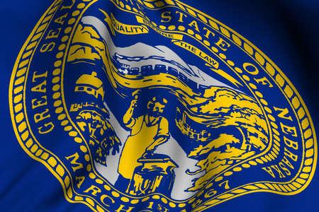 nebraska: Rendering of a waving flag of the US state of Nebraska with accurate colors and design and a fabric texture.
