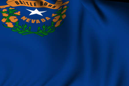 Rendering of a waving flag of the US state of Nevada with accurate colors and design and a fabric texture. photo