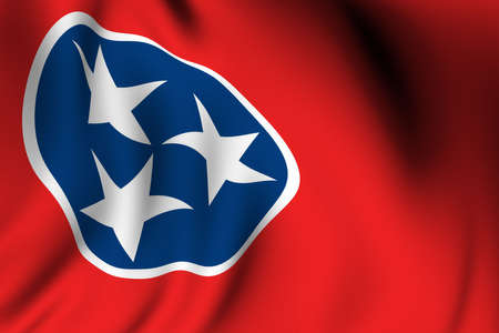 accurate: Rendering of a waving flag of the US state of Tennessee with accurate colors and design and a fabric texture.