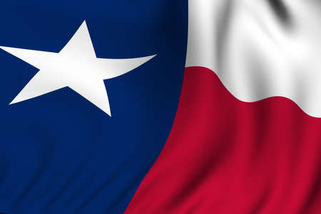 Rendering of a waving flag of the US state of Texas with accurate colors and design and a fabric texture. photo