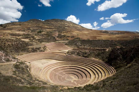 incan: Vista degli antichi Incas terrazze circolari vicino Moray, Per� Archivio Fotografico