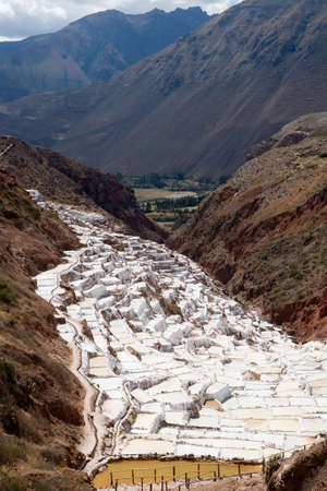 View of the ancient salt basins dating back to Incan times near Maras, Peru.