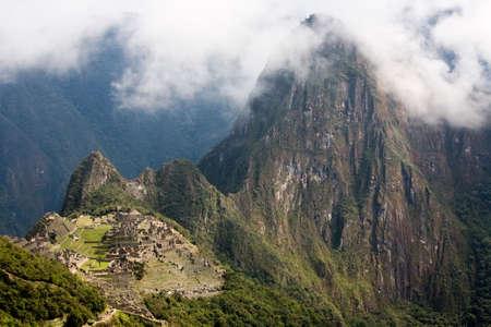 incan: Panorama di vista l'antica citt� Inca di Machu Picchu, uno designato Patrimonio mondiale