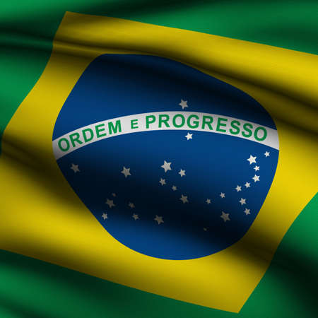 Rendering of a waving flag of Brazilian with accurate colors and design and a fabric texture in a square format. photo