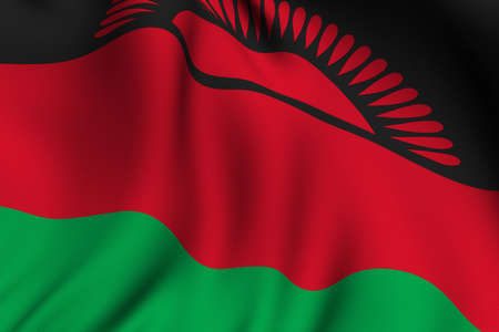 malawian: Rendering of a waving flag of Malawi with accurate colors and design and a fabric texture.