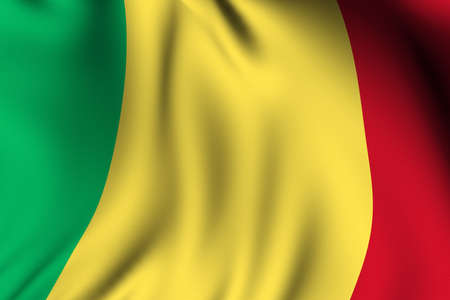 Rendering of a waving flag of Mali with accurate colors and design and a fabric texture. photo
