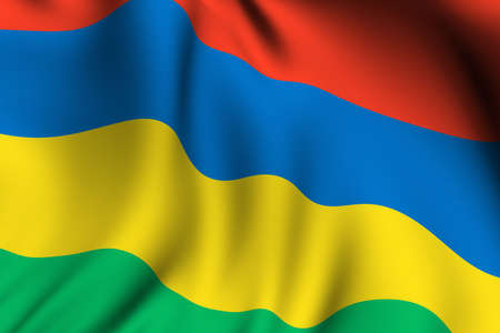 Rendering of a waving flag of Mauritius with accurate colors and design and a fabric texture.