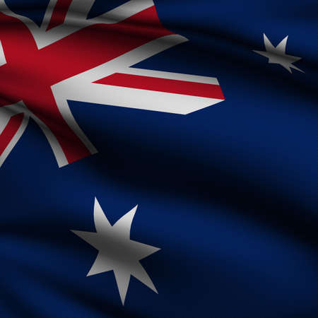 Rendering of a waving flag of Australia with accurate colors and design and a fabric texture in a square format.