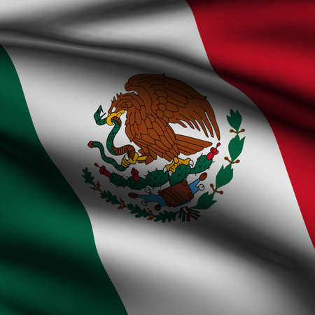 Rendering of a waving flag of Mexico with accurate colors and design and a fabric texture in a square format. Stock Photo