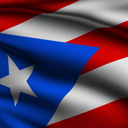 puerto rican flag: Rendering of a waving flag of Puerto Rico with accurate colors and design and a fabric texture in a square format.