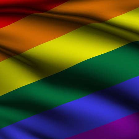 Rendering of a waving flag representing gay pride with accurate colors and design and a fabric texture in a square format.