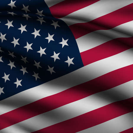 Rendering of a waving flag of the United States with accurate colors and design and a fabric texture in a square format.