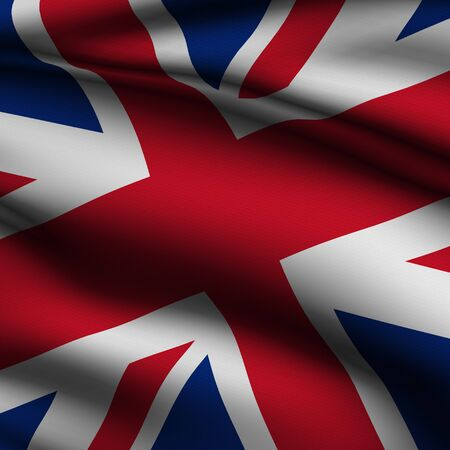 Rendering of a waving flag of the United Kingdom with accurate colors and design and a fabric texture in a square format Reklamní fotografie