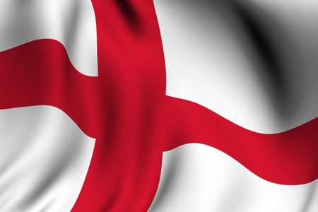 rendering: Rendering of a waving flag of England with accurate colors and design.