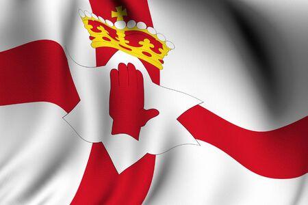 Weergave van een wuivende vlag van Noord-Ierland met nauwkeurige kleuren en ontwerpen.  Stockfoto